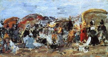 Beach Scene at Villers Artwork by Eugène-Louis Boudin