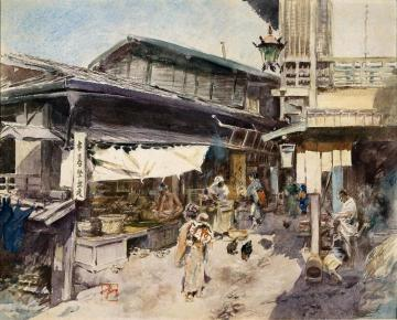Street Scene in Ikao, Japan Artwork by Robert Frederick Blum