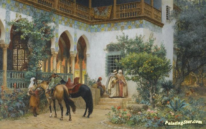 3d69bbb63d0 A North African Courtyard Artwork By Frederick Arthur Bridgman Oil ...