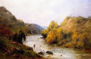 The Golden Valley, Fishing on the Dee Artwork by Alfred de Breanski, Sr.