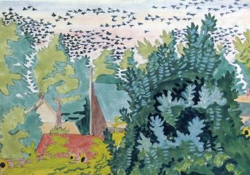 Flight Of Blackbirds At Dawn Artwork by Charles Burchfield