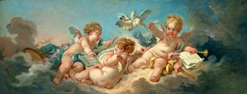 Putti Making Music Artwork by Francois Boucher