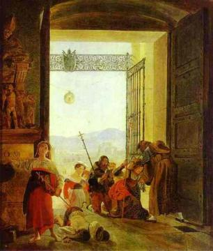 Pilgrims at the Entrance of the Lateran Basilica Artwork by Karl Pavlovich Bryullov