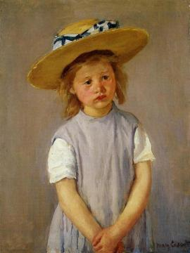 Little Girl in a Big Straw Hat and a Pinnafore Artwork by Mary Cassatt
