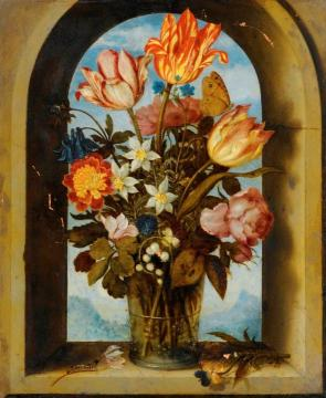 Still Life of Tulips, Moss-Roses, Lily-of-the-Valley and other Flowers in a Glass Beaker Artwork by Ambrosius Bosschaert