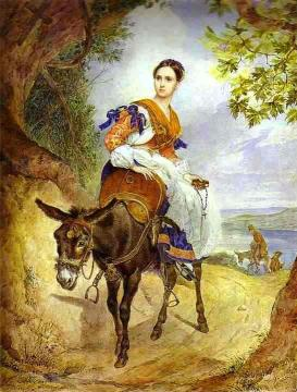 Portrait of O. P. Ferzen on a Donkeyback Artwork by Karl Pavlovich Bryullov