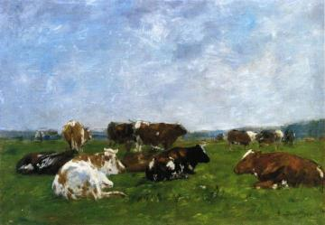 Cows in a Pasture Artwork by Eugène-Louis Boudin