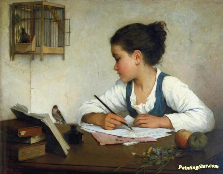 A Girl Writing Artwork by Henriette Browne