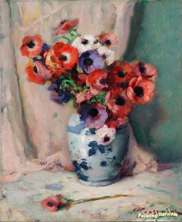 Anemones In A Vase Artwork By Fernand Toussaint Oil Painting Art