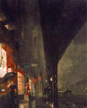 Wet Night On The Bowery Artwork by John Sloan