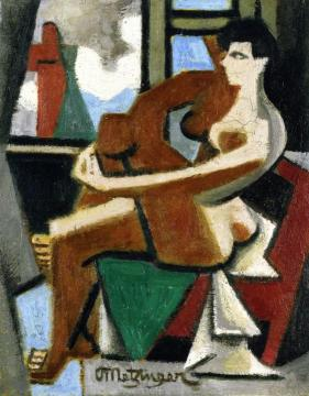 Seated Nude in Profile Artwork by Jean Metzinger