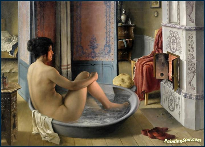Interior With Bathing Woman Artwork By Karl Reinhold Callmander