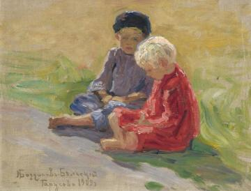 Playing Children Artwork by Nikolai Petrovich Bogdanov-belsky