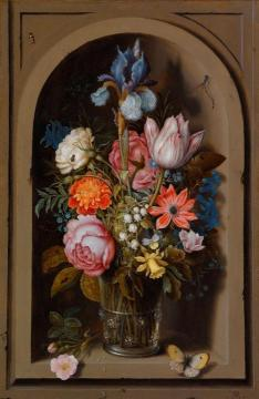 A still life of flowers in a glass beaker set in a marble niche Artwork by Ambrosius Bosschaert