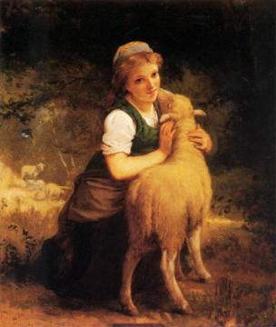 Young Girl With Lamb Artwork by Emile Munier