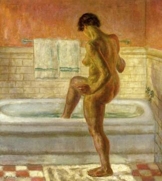 Nude, Stepping Into Tub Artwork by John Sloan