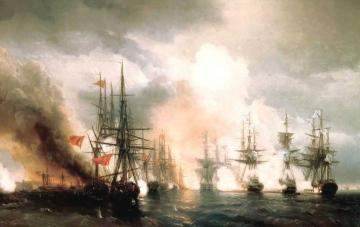 Battle near Sinop (during daylight hours version) Artwork by Ivan Constantinovich Aivazovsky