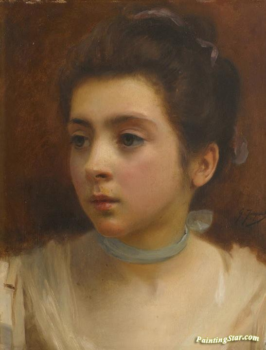 The Blue Ribbon Artwork by Gustave Jean Jacquet Oil Painting & Art ...