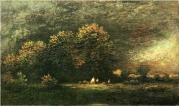 Indian Encampment in a Stormy Landscape Artwork by Ralph Albert Blakelock
