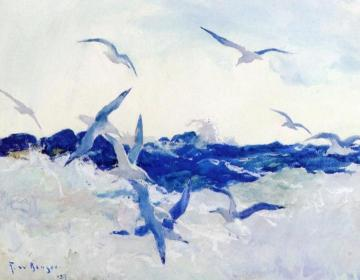 Seagulls and Surf Artwork by Frank W. Benson