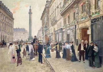 Workers leaving the Maison Paquin Artwork by Jean Georges Beraud
