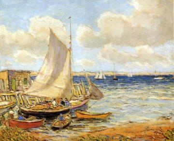Fishing Boats at Jamestown, Rhode Island Artwork by Reynolds Beal