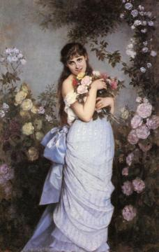 A Young Woman in a Rose Garden Artwork by Auguste Toulmouche