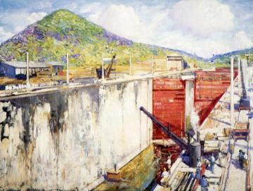 Pedro Miguel Locks, Panama Artwork by Alson Skinner Clark