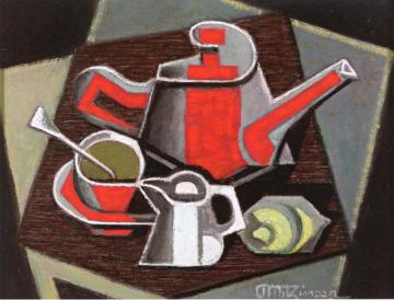 Coffee Pot and Red Cup Artwork by Jean Metzinger