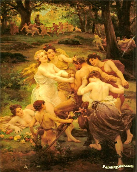 Nymphs And Satyr Artwork by Jules Scalbert Oil Painting ...