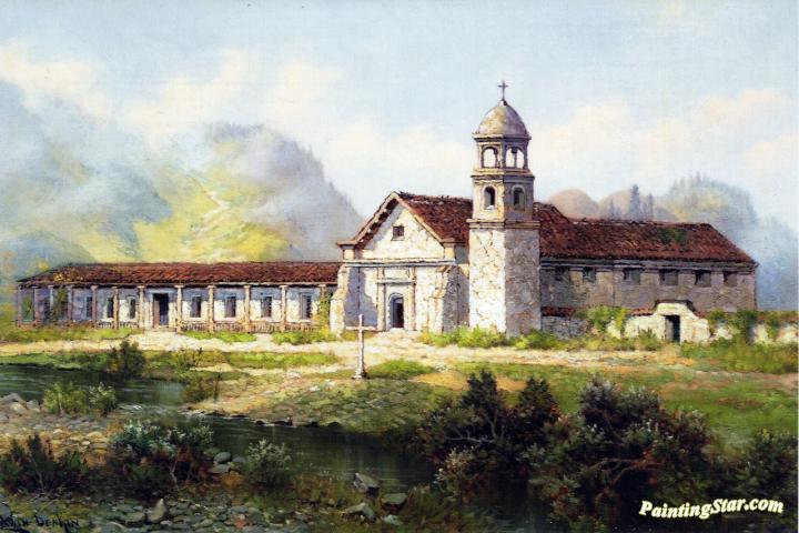 Mission Santa Cruz Artwork By Edwin Deakin Oil Painting