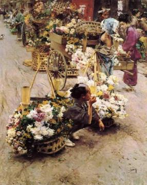 The Flower Market, Tokyo Artwork by Robert Frederick Blum