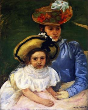 Mother and Daughter, Both Wearing Large Hats Artwork by Mary Cassatt