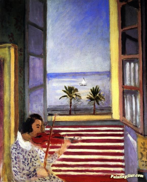 Young Woman Playing the violin in front of an Open Window Artwork by Henri Matisse & Young Woman Playing The Violin In Front Of An Open Window Artwork By ...