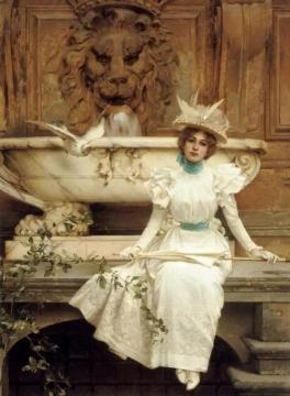 Waiting by the Fountain Artwork by Vittorio Matteo Corcos