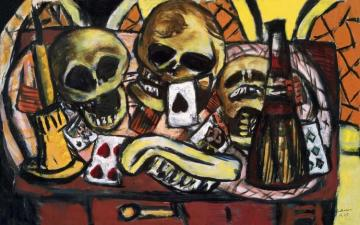 Still Life With Three Skulls Artwork by Max Beckmann