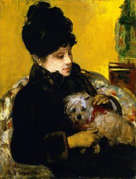 A Visitor in Hat and Coat Holding a Maltese Dog Artwork by Mary Cassatt