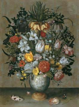 Chinese Vase with Flowers, Shells and Insects Artwork by Ambrosius Bosschaert