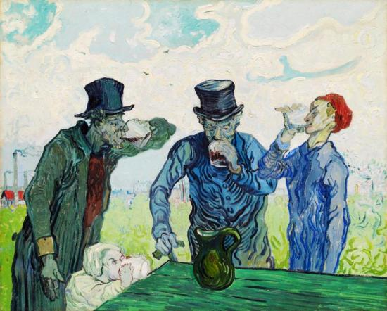 The Drinkers (after Daumier) Artwork by Vincent van Gogh