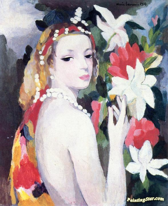 Young Girl with Flowers Artwork by Marie Laurencin