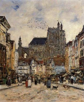 Abbeville, Street and the Church of Saint-Vulfran Artwork by Eugène-Louis Boudin