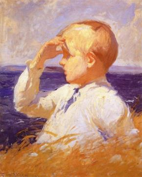 Study - Boy's Head Artwork by Frank W. Benson