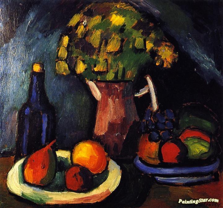 Still Life With Bouquet Fruit Bowls And Bottle Artwork By Alexej