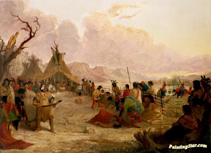 Medicine Dance of the Dakota or Sioux Indians, Art Painting by Seth Eastman