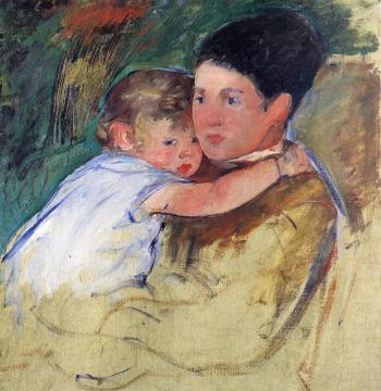 Sketch of Anne and Her Nurse Artwork by Mary Cassatt