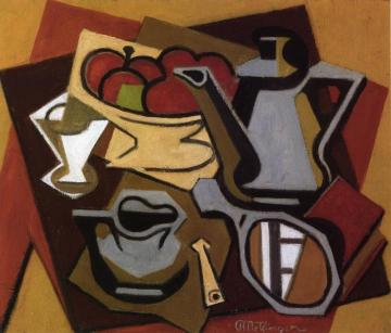 Still LIfe with Mirror and Cigarette Holder Artwork by Jean Metzinger