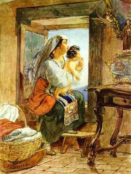 Italian Woman with a Child by a Window Artwork by Karl Pavlovich Bryullov