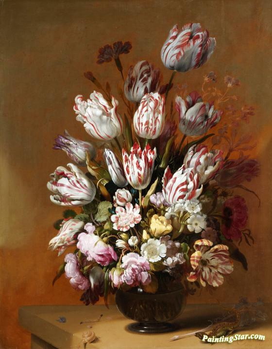 Still Life With Flowers Artwork by Hans Bollongier