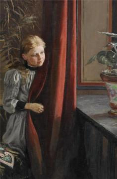 Girl At The Window Artwork by Fanny Brate