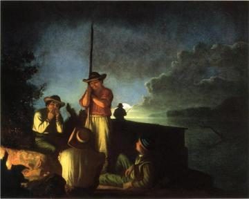 Wood-boatmen On A River Artwork by George Caleb Bingham